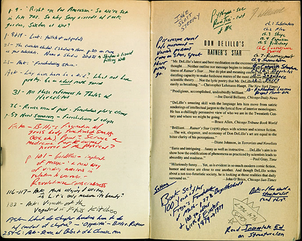 Inside cover of David Foster Wallace's annotated copy of Don DeLillo's Ratner's Star. Harry Ransom Center.